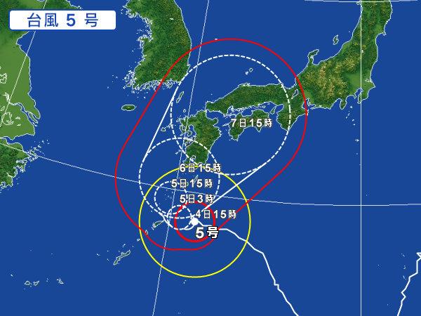台風5号 2017 最新 進路 予想